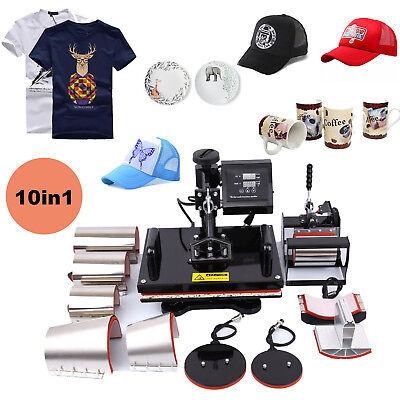 10 in 1 12x15 Heat Press Transfer Sublimation Machine T-Shirt Hat Plate Mug Cap