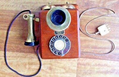Vintage PMG Telephone - Wooden Cabinet Wall Phone - Works Well - Loud Bell Ring!