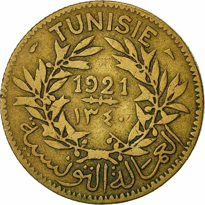 [#541417] Coin, Tunisia, Anonymous, 2 Francs, 1921, Paris, AU(50-53)