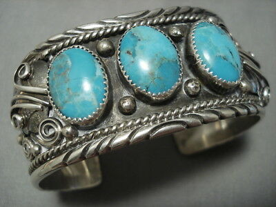 Vintage Navajo Domed Turquoise Sterling Silver Cuff Native American Bracelet