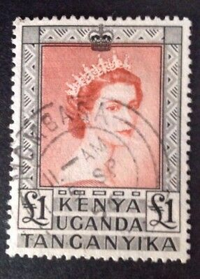 British KUT 1954 £1.00 QE2 Stamp Vfu