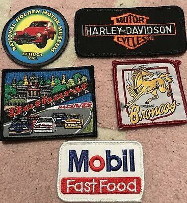 5 X Embroidered Patches Holden,mobile Oil,Broncos,Bathurst Etc (not Used)