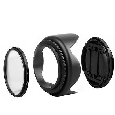 UV Filter Lens Cap Lens Hood Set for Nikon D5500 D5300 D5600 D3400 AF-P 18-55mm