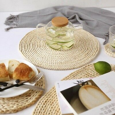 Straw Weave Water Hyacinth Round Placemat Cup Mug Table Mat Dinner Mat Decor