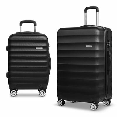 2pcs Hard Shell Lightweight Travel Luggage with TSA Lock Suit Case - Black