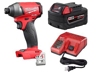 "Milwaukee 2753-22 M18 FUEL 18V Brushless 2753-20 1/4"" Impact Driver 5.0 Ah Kit b"