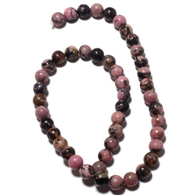 Rhodonite Plain Round 8mm Beads 15 Inch Strand 47 Pieces Approx MM34-2