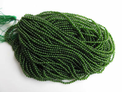 5 Strands Natural Green Jade Smooth Round Beads 2mm Beads 15 Inches Each GDS913