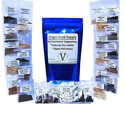 10,000 Seed Lot - 30 Vegetable & Fruit Variety Pack - Survival Non-gmo Va... New
