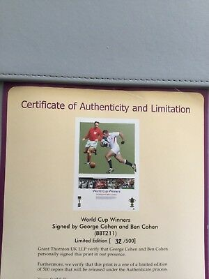 George and Ben Cohen signed Football/Rugby World Cup print.