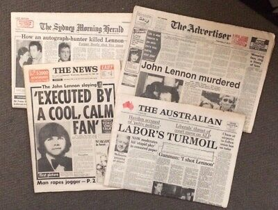 JOHN LENNON DEATH: 4 COMPLETE ORIGINAL AUSTRALIAN NEWSPAPERS of EX-BEATLE MURDER