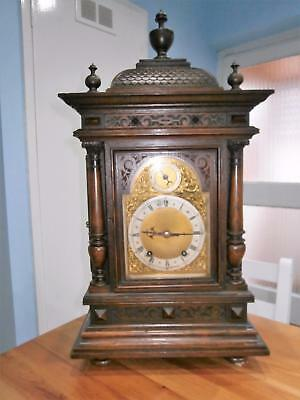 W & H Large Carved Oak Ting Tang Bracket Clock Serviced & Overhauled