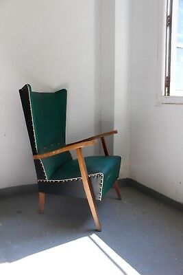 Set of 2, Mid Century Vintage Rockabilly Armchair Synthetic Chair 1960s Spain