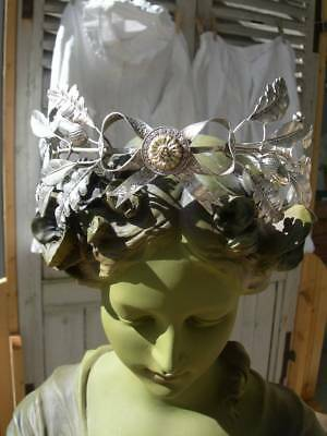 Exquisite antique 19thC French embossed silvered metal wedding crown