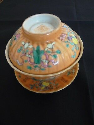Tres Ancienne Tasse Couverte Chinoise  Famille Rose