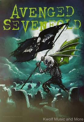 "AVENGED SEVENFOLD Flag/ Tapestry/ Fabric Poster   A7X  ""Cemetary""  NEW"