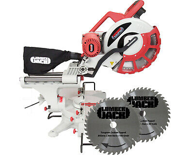 """Lumberjack 12"""" Inch Double Bevel Mitre Saw 240v 2 Extra Spare Blades 80T 100T"""