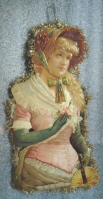 antique  Victorian die cut lady scrap paper Christmas Tree ornament