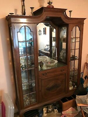 19th Century Antique Glass Fronted Cabinet with Mirror (Edwardian/Victorian)