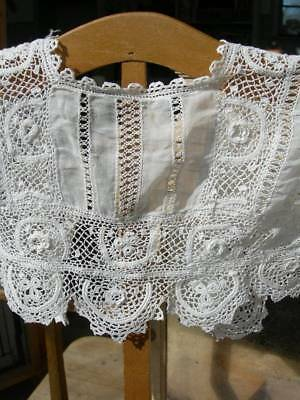 Antique French 19th century tiny child's Irish crochet lace bodice blouse
