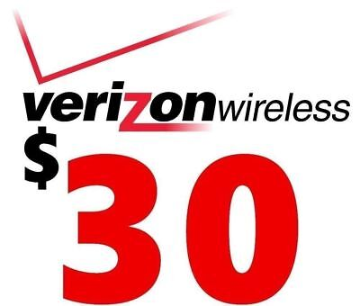 Verizon Wireless $30 Prepaid Refill Card, Email/eBay Message Delivery