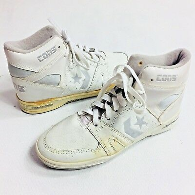 VINTAGE CONVERSE SHOES Mens Size 5 Cons Hi Tops Basketball White Dead Stock