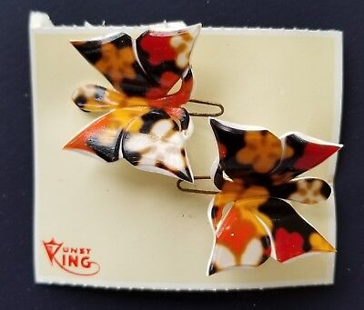 Vintage Hair Barrettes - 1960's Pair of Red/Orange Flower Butterfly Barrettes