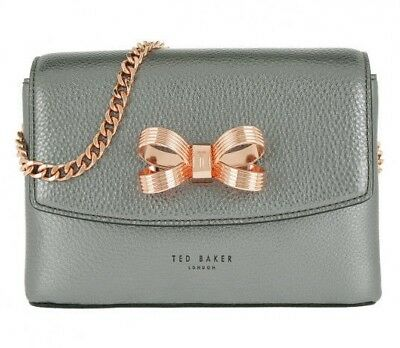 e090f0f5 New TED BAKER LONDON Lupiin Metallic Leather Crossbody Bag Gunmetal Silver