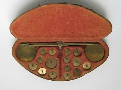 Antique 19thC Gold Coin Travel Balance Scale Weights Germany