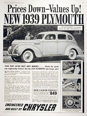 1939 PLYMOUTH DELUXE Genuine Vintage Advertisement ~ RARE CDN AD