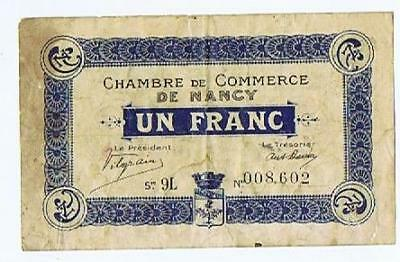 France Chambre de Commerce de Nancy Franc  1918 VG notgeld ticket #133