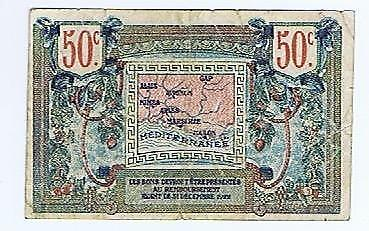 France Chambre de Commerce Prevencale marseille 50 c 1918 VG notgeld ticket #134