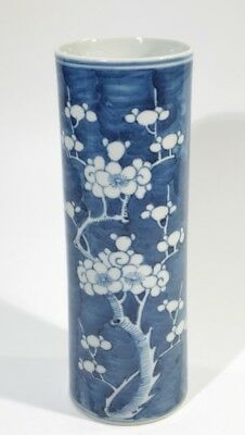 Chinese Blue & White Cylindrical Prunis Painted Vase.