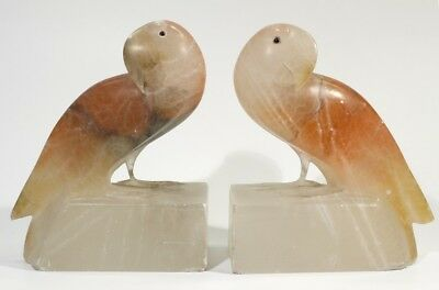 Beautiful Pair of Vintage Art Deco Pink Alabaster Parrot Bookends C1930.