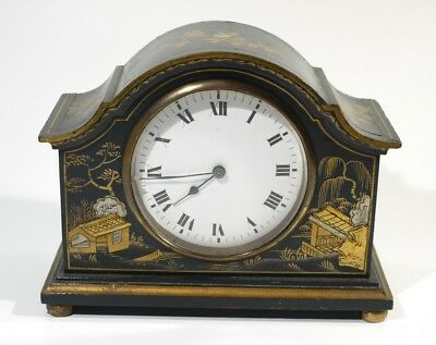 Antique Green & Gilt Chinoiserie Decorated Mantel Clock with French Movement.