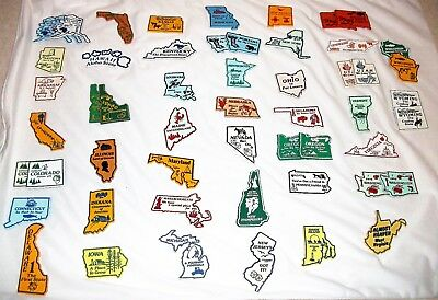 Set of 43 United States Fridge Magnets - Outline Style
