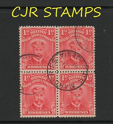 Rhodesia 1913 Admiral  -   Block Of 4  -    Makowiries (Sc)   -    Rated Scarce