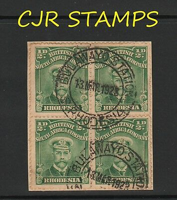 Rhodesia 1913 Admiral  -   Block Of 4  -   Bulawayo Station   -    Rated Common