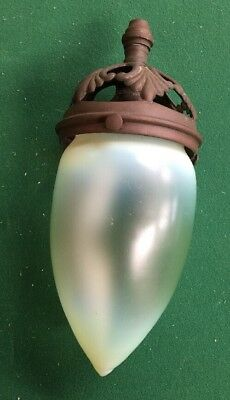 Antique Arts And Crafts Vaseline Glass Light Shade