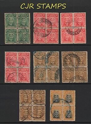 RHODESIA 1913 ADMIRALS   -   8 x  BLOCKS  OF 4   -    MOSTLY FINE USED