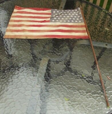 Vintage US FLAG 48 Star Small WWII ERA Antique 22 x 14  (Stains) small holes