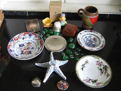 Mixed Collectables Starfish, Trinket Boxes, Scarf Clips, Egg Cup,Thimble, Plates