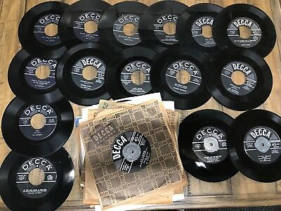 "Lot of (100) Vintage Decca 45 Rpm Records 7"" Classical Big Band Country Vinyl"