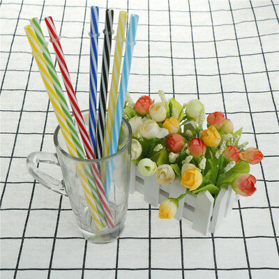 6pcs Two Colors Thread Pattern Reusable Plastic Thick Drinking Straws
