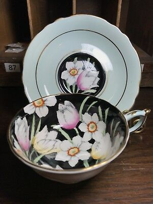 Paragon Tea Cup and Saucer -  By appt H.M The Queen - Tulips and Daffodils