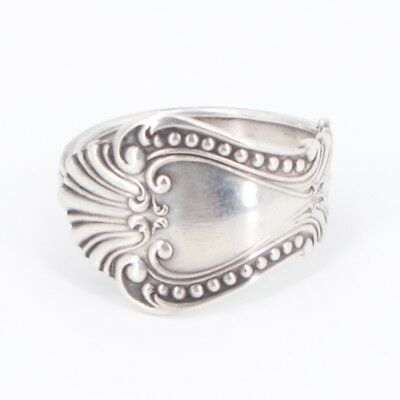 VTG Sterling Silver - Antique Filigree Scroll Spoon Handle Ring Size 10.5 - 7g