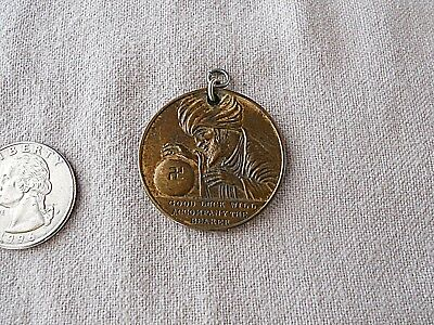 Vtg Swami GOOD LUCK Token Pendant Charm Whirling Logs All Seeing Eye Horseshoe