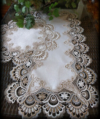 """Table Runner Dresser Scarf Taupe Lace Antique White 30"""" PLUS 16"""" Round Doily"""