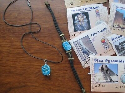 Egyptian Carved Blue Soapstone Scarab Beetle necklace and bracelet