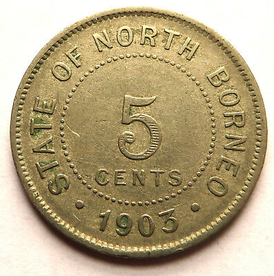 British North Borneo 5 Cents 1903H Copper-Nickel KM#5